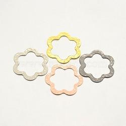 Martelés anneaux de liaison laiton de fleurs, couleur mixte, 32.5x32.5x1mm(KK-E639-04)