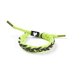 bracelets coulissants tressés en fils de polycoton (polyester coton) réglables, avec les résultats de l'émail en alliage de zinc, greenyellow, 1-3 / 4 3 cm)(BJEW-P252-E05)