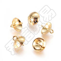 304 tasse en acier inoxydable poire perle bails broches pendentifs, pour la moitié de perles percées, or, 8.5x8mm, trou: 1.5 mm; broches: 0.7 mm(STAS-I120-55B-G)
