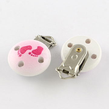Flat Round Printed Wooden Baby Pacifier Holder Clip with Iron Clasp, Deep Pink, 30mm(X-WOOD-R251-12A)
