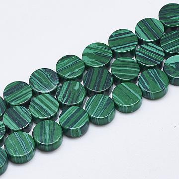 10mm Flat Round Malachite Beads