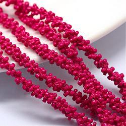 Cordons de perles de semences, avec des câblés en polyester, 6 pli, trou rond, camélia, 6 mm; environ 30 m / bundle(OCOR-R042-01)