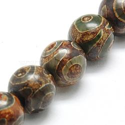 """Chapelets de perles de style tibétain, agate naturel, teint, rond, café, environ 10 mm de diamètre, Trou: 1mm, 37 pcs / chapelet, 15.7""""(G-I004-10mm-05)"""