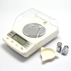 Outil de bijoux en diamants échelle numérique, aluminium avec abs, capacité de poids 250 ct, augmentation de poids 0.005 ct, avec deux poids, blanc, 135x89x68mm(TOOL-A006-01)