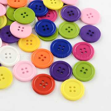 4-Hole Plastic Buttons, Flat Round, Mixed Color, 22x2mm, Hole: 2mm(BUTT-R034-052)