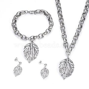 304 Stainless Steel Jewelry Sets, Pendant Necklaces & Charm Bracelets & Stud Earrings, Leaf, Stainless Steel Color, 17.72 inches(45cm), 8-1/4  inches(210mm), 21x14.5x2mm, Pin: 0.8mm(SJEW-E072-11P)