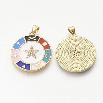 pendentifs en zircon cubique transparent en laiton plaqué or, avec l'émail, plat et circulaire avec étoile, blanc, 30x26.5x2.5 mm, trou: 3x4 mm(ZIRC-T012-43G-B)