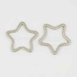 Porte-clés fendus en fer, étoiles, platine, 34x34mm(X-KEYC-31X31-1)