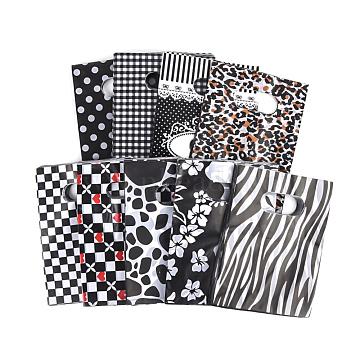 Printed Plastic Bags, Rectangle, Black, 45x35cm(PE-T003-35x45cm-01)