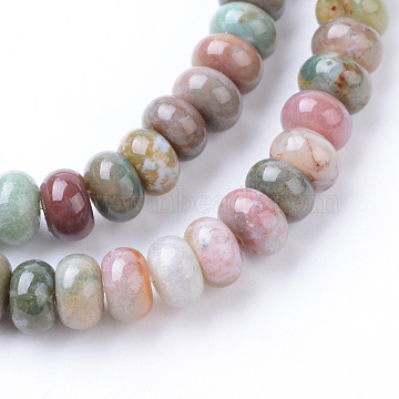 Natural Indian Agate Bead Strands, Rondelle, 6x4mm, Hole: 1mm; about 104pcs/strand, 15.7 inches(X-G-R403-4x6-13)
