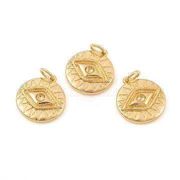 Brass Pendant Rhinestone Settings, with Jump Rings, Flat Round with Evil Eye, Real 18K Gold Plated, Fit For 2mm rhinestone, 15.5x14.5x2.5mm, Hole: 3.5mm(X-KK-I672-46G)