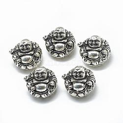 Perles thaïlandaises en argent sterling, Maitreya, argent antique, 925mm, Trou: 18x21x19mm(STER-T002-40AS)