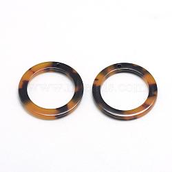 Pendentifs en acétate de cellulose (résine), anneau, verge d'or, 14.5x14.5x2.5mm, Trou: 1.5mm(X-KY-S121B-A301)