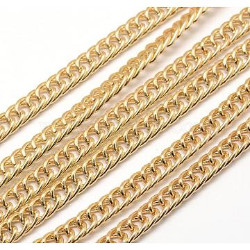 Aluminium Twisted Chains, Light Gold, 9x6x1.2~1.4mm(CHA-M003-03)