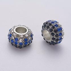 Perles de strass en verre, Perles avec un grand trou   , alliage, pas de noyau métallique, sans plomb et sans cadmium, rondelle, platine, blanc et bleu et violet clair, environ 14.5 mm de diamètre, épaisseur de 9mm, Trou: 6mm(X-BSAPH007-22)