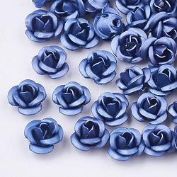 Perles en aluminium, givré, plaqué longue durée, 3 fleur -petal, cornflowerblue, 6x4.5 mm, trou: 0.8 mm(X-FALUM-T001-02A-19)
