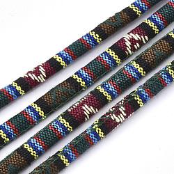 Cordes en tissu de style ethnique, avec cordon en coton à l'intérieur, colorées, 6.5~7x5 mm; environ 100 m / bundle(OCOR-S034-24)