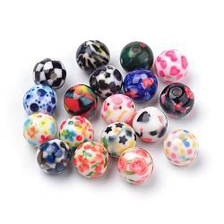 Perles acryliques imprimés opaques, rond, couleur mixte, 10x9.5mm, Trou: 2mm(MACR-S271-10mm-M)