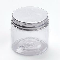 Contenants de perles en plastique transparent, avec couvercle en aluminium, colonne, platine, clair, 5x4.8 cm; capacité: 60 ml(CON-WH0027-03B)