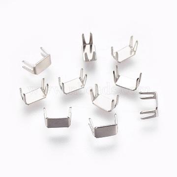 Clothing Accessories, Brass Zipper stopers Top Bottom Stops, Platinum, 6x3x4mm(KK-WH0016-03A-P)