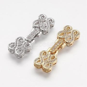 Brass Micro Pave Cubic Zirconia Fold Over Clasps, Infinity, Mixed Color, 34x10x5mm, Hole: 1mm(ZIRC-F047-06)