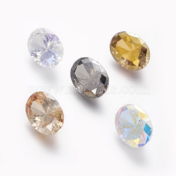Electroplated Cubic Zirconia Pointed Back Cabochons, Oval, Faceted, Mixed Color, 14x10x6.2mm(ZIRC-I024-07)