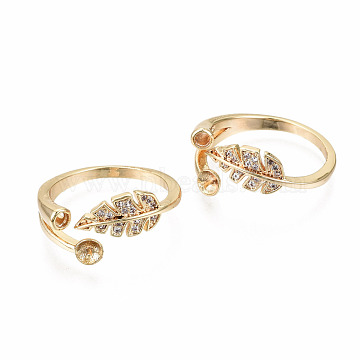 Brass Micro Pave Clear Cubic Zirconia Peg Bails Cuff Finger Ring Settings, for Half Drilled Bead, Nickel Free, Leaf, Real 18K Gold Plated, US Size 8 1/2(18.5mm), Pin: 0.7mm(KK-T056-118G-NF)