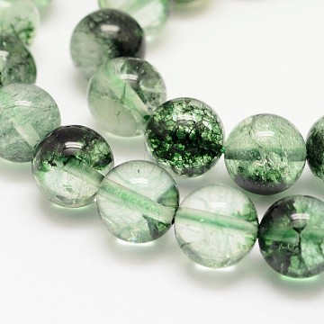 Dyed Round Natural Crackle Quartz Beads Strands, Green, 10mm, Hole: 1mm; about 38pcs/strand, 15.5inches(G-K084-10mm-04A)