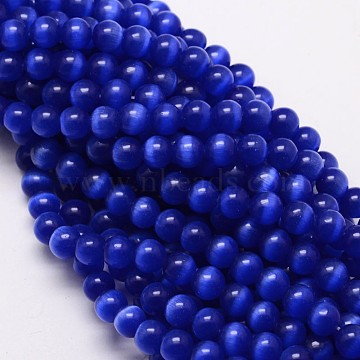 Cat Eye Beads Strands, Round, Blue, 8mm, Hole: 1.2mm; about 50pcs/strand, 15.5 inches(X-CE-M011-8mm-03)