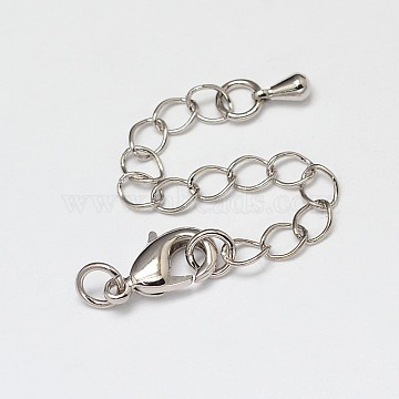 Rack Plating and Vacuum Plating Brass Chain Extender, with Lobster Claw Clasps, Cadmium Free & Lead Free, Platinum, 50~70mm, Clasps: 12x7mm, Hole: 3mm(X-KK-I598-16P-RS)