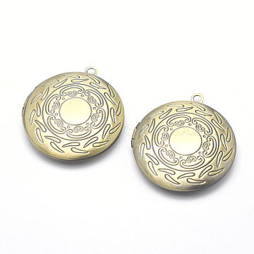 Brass Locket Pendants, Photo Frame Charms for Necklaces, Cadmium Free & Nickel Free & Lead Free, Flat Round, Brushed Antique Bronze, 36x32.5x6mm, Hole: 2mm; Inner Size: 24mm(KK-P141-51-NR)