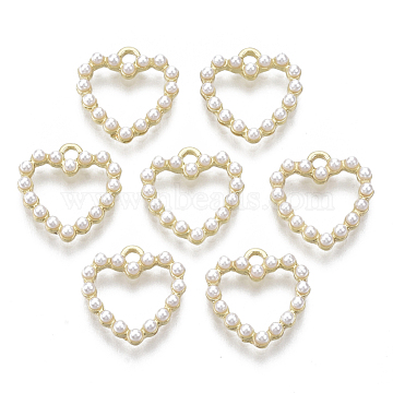 Alloy Charms, with ABS Plastic Imitation Pearl, Heart, White, Light Gold, 13x12.5x2.5mm, Hole: 1.4mm(X-PALLOY-R116-07)