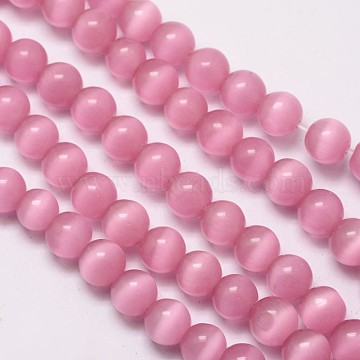 Cat Eye Beads Strands, Round, Pearl Pink, 10mm, Hole: 1.5mm; about 40pcs/strand, 15.5 inches(X-CE-M011-10mm-12)