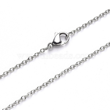 304 Stainless Steel Cable Chain Necklace Making, with Lobster Claw Clasp, Stainless Steel Color, 19.68 inches(50cm), Link: 2.5x2x0.5mm(NJEW-S420-007A-P)