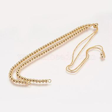 Латунь шарик цепь ожерелье материалы(NJEW-F151-01G)-1