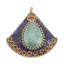 Gros pendentifs indonésiens manuels, avec des accessoires en laiton non plaqué, secteur, turquoise, 56x50.5x15.5mm, Trou: 5mm(X-IPDL-N001-03A)