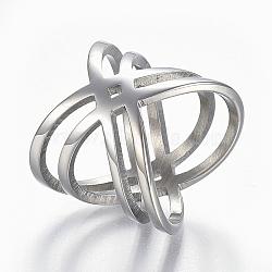 304 bagues en acier inoxydable, anneaux de large bande, creux, taille 9, couleur inox, 19 mm(RJEW-E153-32P-19mm)
