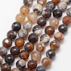 Natural Fire Agate Bead Strands, Round, Faceted, Dyed & Heated, SaddleBrown, 10mm, Hole: 1mm; about 37pcs/strand, 15inches