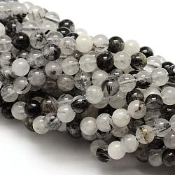 Natural Gemstone Black Rutilated Quartz Round Beads Strands, 10mm, Hole: 1mm; about 38pcs/strand, 15.5
