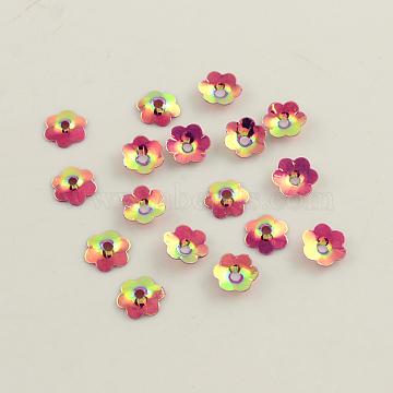 Ornament Accessories Flower Plastic Paillette Beads, Sequins Beads, Cerise, 5x1mm, Hole: 1.5mm(X-PVC-Q037-5mm-T65)