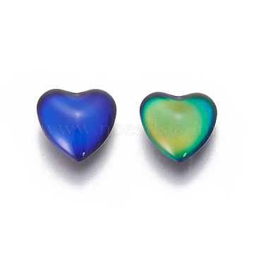 Glass Cabochons(Color will Change with Different Temperature), Mood Cabochons, Heart, Colorful, 12.8x12x4.7mm(X-GGLA-J010-04-12mm)