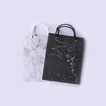 kraft Paper Bags, with Handles, Gift Bags, Shopping Bags, Rectangle, Marble Texture Pattern, Mixed Color, 23x18x10cm; 2 colors, 5pcs/color, 10pcs/set(CARB-X0001-01)
