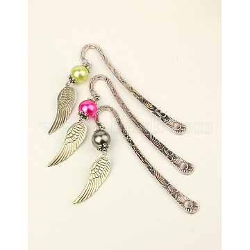 Fashion Tibetan Style Bookmarks, with Imitation Pearl Acrylic Beads and Wing Tibetan Style Pendants, Mixed Color, 120mm(AJEW-JK00002)