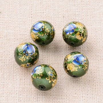 Flower Picture Printed Glass Round Beads, Green, 12mm, Hole: 1mm(GLAA-J087-12mm-B10)
