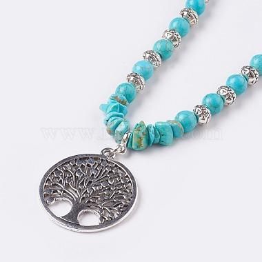 Synthetic Turquoise Pendant Necklaces(NJEW-JN02155)-2