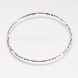 fils de fer, platine, 53 mm de diamètre, Jauge 24, 0.5 mm de large 3 boucles / pc(MW-F001-3)