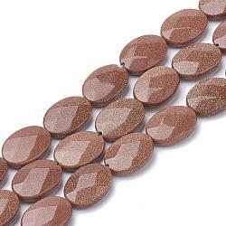 Chapelets de perles en goldstone synthétique, facette, ovale, 18~18.5x13~13.5x5mm, trou: 1mm; environ 22 pcs/chapelet, 15.7''(G-S292-51)
