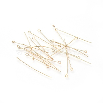 304 Stainless Steel Eye Pins, Golden, 45x3mm, Hole: 1.8mm, Pin: 0.7mm(X-STAS-G205-02A-G)
