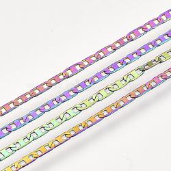 Chaînes à maillons mariner en laiton, avec bobine, soudé, multicolore, 4.5x1.7x0.3 mm; environ 20 cour / rouleau(CHC-S007-05)