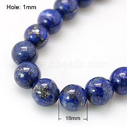 Natural Lapis Lazuli Beads Strands, Dyed, Round, Blue, 18mm, Hole: 1mm; about 11pcs/strand, 7.6inches